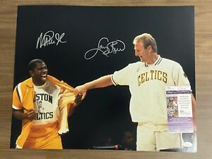 LARRY BIRD & MAGIC JOHNSON signed 16x20 photo Celtics Lakers Auto Autograph JSA