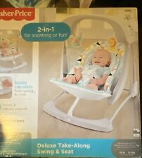 New Fisher Price Deluxe Take A Long Swing And Seat Safari Print