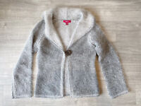 Monsoon Cardigan Long Sleeves Grey Size 10 Soft Lambs Wool And Angora Mix