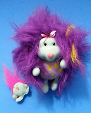 LIL' FURSONS MOM & BABY Purple & Turquoise Plush 1995 Tyco