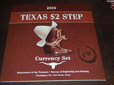 2016 Texas $2 Step Currency Set BEP MATCHING SERIAL NUMBER 2 NOTE SET # 20163756