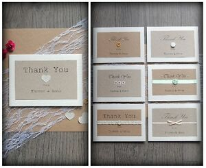 Pack of 10 Personalised Handmade Wedding 'Thank You' Cards with Envelopes Gift
