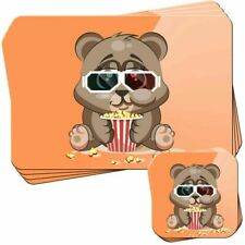Chubby Little Brown Bear Eating Popcorn Set of 4 Placemats and Coasters