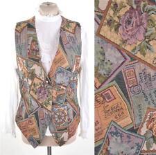 VTG 1990's Postcard Tapestry Waistcoat Vest S 8 10 Vest Gillet Top Kitsch Grunge