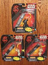 Star Wars Ep I Deluxe Dueling Qui-Gon, Obi-Wan & Darth Maul w/Battle Swing NOSCs