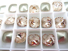 4 Light Silk Foiled Swarovski Crystal Square Cushion Cut  Stone 4470 12mm