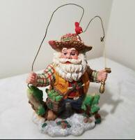 Vintage Sterling Inc Resin Fly Fishing Santa Claus Christmas Decoration Figurine