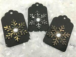 9 Handmade Christmas Snowflake Secret Santa Gift Tags - Black with Gem Detail