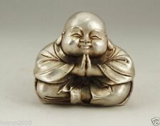 CHINESE OLD WHITE COPPER HANDWORK CARVING MONK BUDDHA STATUE