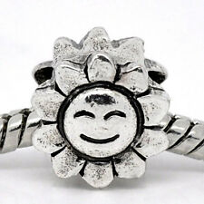 Silver Tone Happy Sun Flower Bead Charm