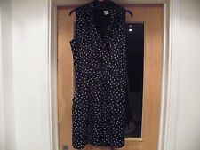 LA REDROUTE LAURA CLEMENT BLACK & WHITE SPOTTED DRESS NO SLEEVES POLYESTER 94