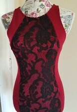 Forever 21 Bodycon Black/Red/Burgundy Panel Dress S