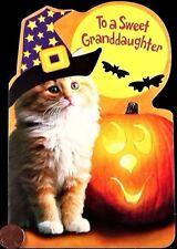 Kitten Cat Witch Hat Moon Pumpkin - Granddaughter Halloween Greeting Card - NEW