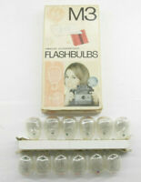 (12) GE M3 USA Photoflash Clear Unfired Flash Bulbs With Box  Vintage L22D