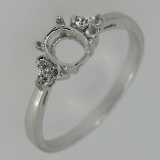 Sterling Silver Semi Mount Ring Setting Oval OV 6x5mm Cabochon White Topaz