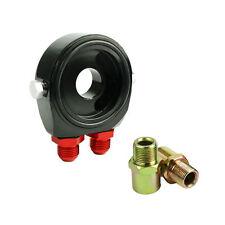 AN8 Black Aluminum Oil Filter/Cooler Sandwich Block Adapter Gauge Sensor Plate