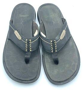 Merrell Westport Mens Flip-Flops Thong Sandals Black Slip On Leather EUC Size 11