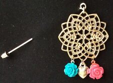 Silver Flower Filigree Design With Delicate Drops Hijab Scarf On Stick Pin