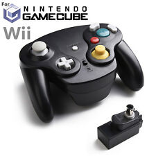 BLACK Wireless Gamecube Controller With Adapter Wavebird for Nintendo Wii GC NGC