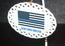 Police Blue Lives Matter Collectible Ceramic Christmas Ornament boxed USA made