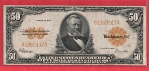 ***  1922  $50.00 GOLD NOTE NID GRADE   ***