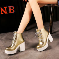 Women's Casual Lace Up Block Chunky High Heels Platform Ankle Boots Plus Size