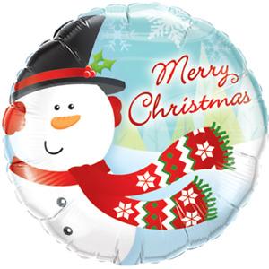 Merry Christmas Snowman - 18'' Foil - Christmas balloon