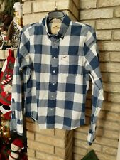 Hollister Blue & White Plaid Button Down Mens Long Sleeve Shirt Size Lg Checkerd