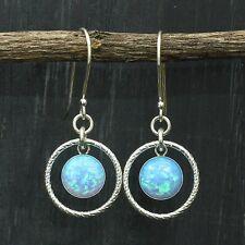 Round Blue Fire Opal 925 Sterling Silver Dangle Earrings Women's Jewelry X707