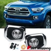 Fits 2016-2018 Toyota Tacoma Pickup Front Bumper Cover Lamps Fog Lights w/Switch