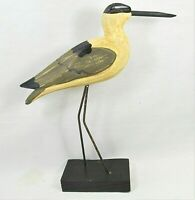 Shore Bird Rustic Hand carved and painted wood on stand Beach decor (A)