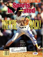 """DENNIS ECKERSLEY Signed Autographed SI """"OAKLAND ATHLETICS"""" PSA/DNA #AE93711"""