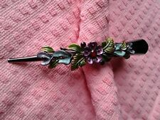 Large jeweled Hair ornament up do french twist claw clip alligator clamp 5 inch