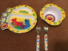 Sesame Street Divided Plate & Bowl Set W utensils + other items
