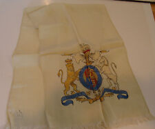 British Royal Coat of Arms Crest vintage silk Scarf Honi Soit Qui Mal y Pense