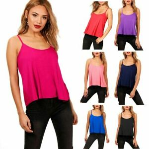 New Womens Ladies Cami Sleeveless Swing Summer Vest Top Strappy Flared Plus Size