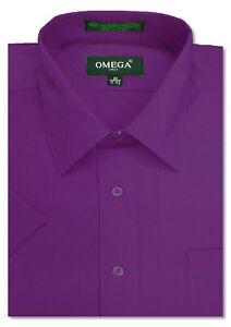 Mens Solid SHORT SLeeve Premium Regular fit Dress Shirts, 26 colors, size S~5XL