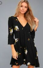 Free People Black Time On My Side Black Floral Print Wrap Dress S NWT $98