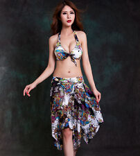 Foclassy Women Bikini Push up Three pieces Long dress Back lacing Swimwear