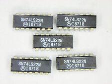 "SN74LS22N  ""Original"" Motorola  14P DIP IC  5  pcs"