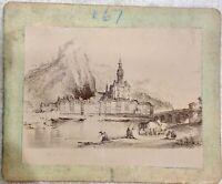 AUTHENTIC ANTIQUE ALBUMEN 1800s PHOTOGRAPH PHOTO DINANT EUROPE CITY TOWN