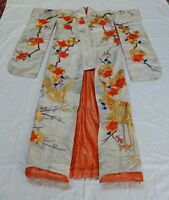 Vintage Japanese Uchikake Embroidered Appliqué Ceremonial Wedding Kimono
