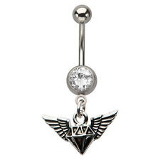 Wing Diamond Design With Charm Navel Ring Piercing Steampunk Body Jewelry
