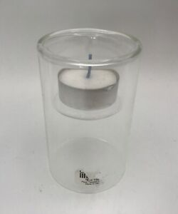 """CRATE AND BARREL PIPER TEALIGHT SMALL GLASS CANDLE HOLDER 3 5/8"""""""