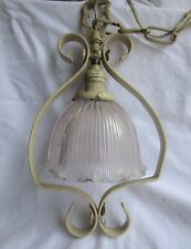 Vintage Hanging Holophane Shade Cast Iron Pendant Swag Light Fixture
