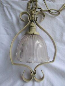 Vintage Hanging Holophane Shade Cast Iron Pendant Swag Light Fixture