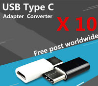 10x USB Type C Male Connector to Micro USB Female Converter USB-C Adapter
