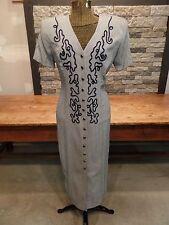 Marnie West Dress Button Front Shoulder Pads Women's Size 7/8 Nice Vintage 80's