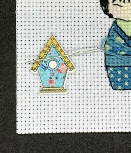 Birdhouse Needle Minder For Cross Stitch And Embroidery