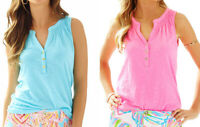 New Lilly Pulitzer Essie Tank Solid Blue Pink Rutched Sleeveless Tank Top shirt